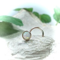 Nose Stud 17 White Opal Gold