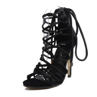 2017 Summer Sexy Girl Gladiators Cross Tied Rope Hollow Out Zipper Thin High Heels Women Peep Toe Sandals Woman Casual Shoes