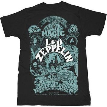 Led Zeppelin Electric Magic Show Poster Band Licensed Adult T-Shirt - Black - XX