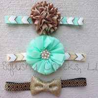 Mint and Bronze Headband, Aztec Headband, Girl Accessories, Metallic Headband, Trendy Baby Headband, Glitter Bow Photo Prop, Sized any age