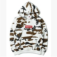 Supreme fashion womne men fresh camouflage hoodie shirt