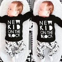 2016 Autumn New baby boys girls Romper baby clothes  cotton letters Long sleeve T-Shirt+pants newborn  baby clothing