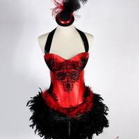 MEDIUM Victoria : Las Vegas Showgirl Burlesque Bustier Fashion Corset Adult Halloween Costume Top Hat Ruffle Panty