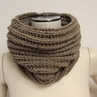 Tan Cowl, Knit Infinity Scarf, Wool Cowl, Tan Neck Warmer, Knit Snood, Rib Knit Cowl, Wool Infinity Scarf, Brown Cowl, Wool Scarf