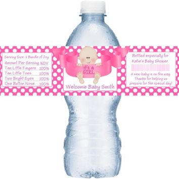 21 Its A Girl Baby Shower Water Bottle Labels Light Skin Baby