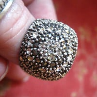 Vintage Heavy Marked 925 Sterling Silver CZ Marcasite Bling Ring Size 7 3/4