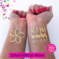 Aloha Bride + Aloha Beaches gold tattoos
