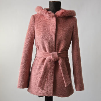 Vintage Belted Short Coat Pink Wool with Rabbit Fur Trimmed Hood Size Small