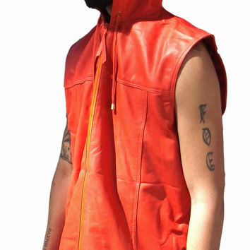 Mens Leather Shirt Orange Hooded Hoodie Zip up Sleeveless Tee Nappa Sheepskin