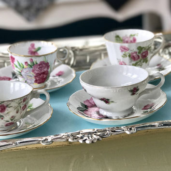 Vintage Mismatched China Teacups and Saucers,  Bridal Shower Tea  Party,  High Tea,  Pink and Green Tea Cups