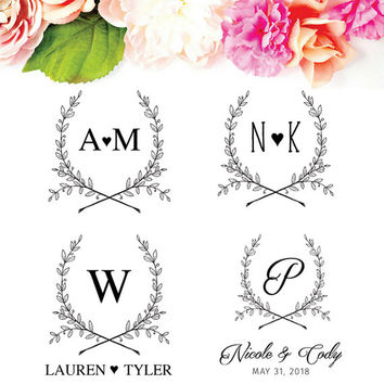 Monogram Wedding Stamp - Custom Wedding Logo - Spring Wedding Logo Design - Rustic Wedding Logo Stamp - Couples Monogram - Engagement Gift