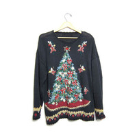Ugly Xmas Tacky Sweater Christmas Tree BOWS Ugly Party Black Long Holiday Novelty Sweater Large