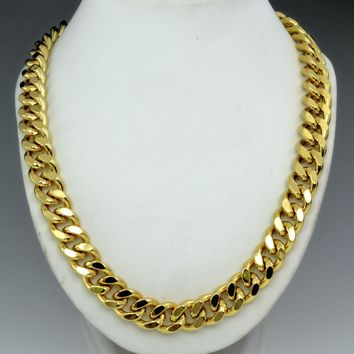 Men gold color long chain Necklace N224 60cm 50cm length