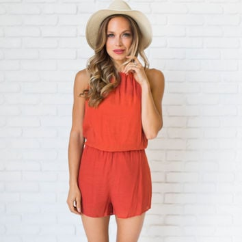 Living The Life Romper In Rust