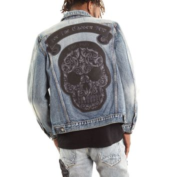 Men's King Baby Skull Patch Denim Jacket in Hasher