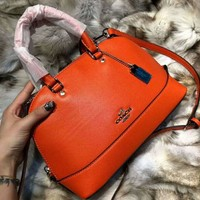 COACH Trending Women Shopping Leather Tote Zipper Handbag Shell Style Shoulder Bag Pure Orange I-QS-MP-JZLB