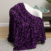 Animal Print Ultra Plush Purple Zebra King Size Microplush Blanket