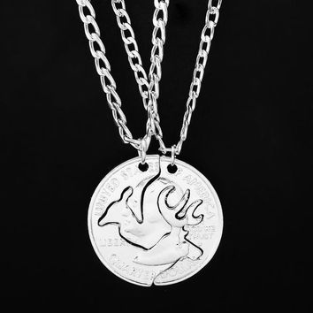 2 pcs/set Cut Coins Pendant Necklace Heart Rock Deer Hunter Horse Tiger Animal Splicing Necklaces Lover Best Friends Jewelry