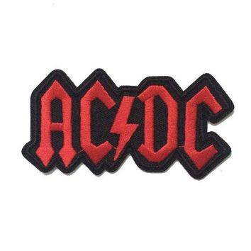 LMFON ACDC AC/DC Music Band Logo patch Rock Heavy Metal Punk Music Band Logo Patch Sew Iron on Embroidered Badge Sign Costume Gift