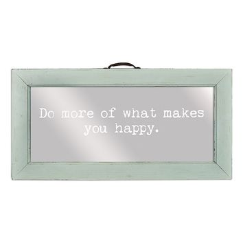 Belle Maison ''Do More of What Makes You Happy'' Framed Mirror Wall Art (Blue)
