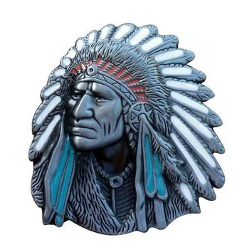 T-DISOM Old West Indian Warrior Chief belt buckle Native American fashion zinc alloy