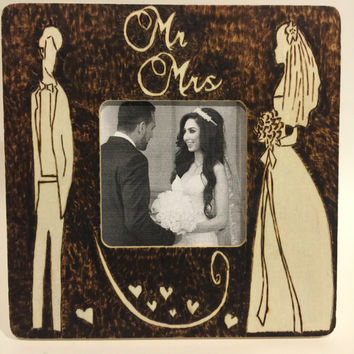 personalized wood wedding frames- burned wooden frame- pyrographic wedding gift- personalize your own picture frame