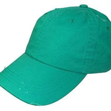 ONETOW Distressed Weathered Vintage Polo Style Baseball Cap (One Size, Kelly Green)
