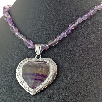 Fluorite Heart Amethyst Pendant Necklace, Gemstone Jewelry