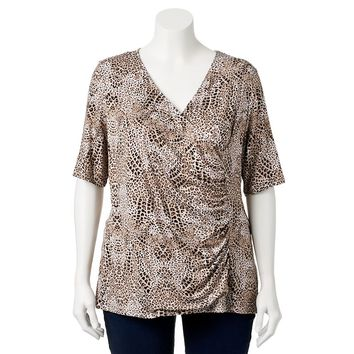 Dana Buchman Printed Faux-Wrap Top - Women's Plus Size, Size:
