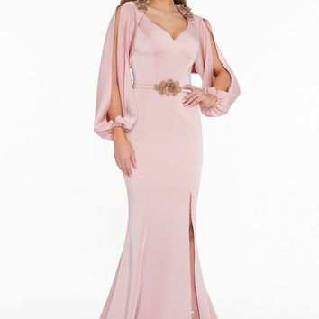 Terani Couture - 1823E7371 Split Bishop Sleeve Rosette Accented Gown