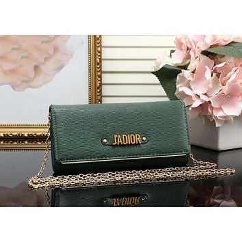 DIOR Trending Ladies Shopping Leather Metal Chain Single Shoulder Bag Satchel Crossbody Green I-MYJSY-BB
