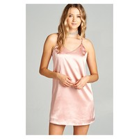 Active USA Dusty Pink V Neck Satin Cami Slip Dress