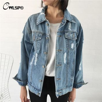 CWLSP 2017 Denim Jacket Coat Women Vintage Ripped Holes Turn-down Collar Coats Women cotton jean jacket bts kpop Tops QL3247