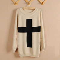 Beige Cross Pullover Sweater