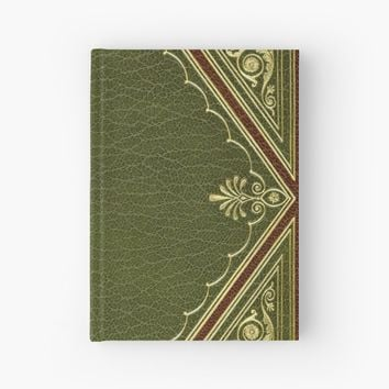 'Green Embossed leather with gold inlay design book cover' Hardcover Journal by coverinlove
