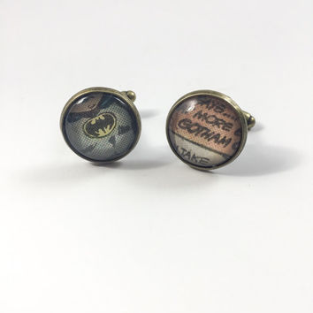 Batman Cufflinks (Ready to Ship) - Gotham Cufflinks Groom's Corner - Wedding Cufflinks - Everyday Cufflinks - Antique Bronze