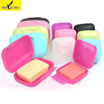 Travelsky 2017 New Reusable Soap Box Home Travel Soap Dishes Holder Soap Box with Cover bathroom Set Soap Storage Box (Only Box)