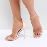 Missguided Three Strap Perspex Heeled Sandals at asos.com