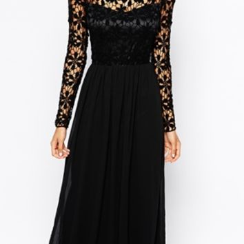 Club L Crochet Maxi Dress with Long Sleeves