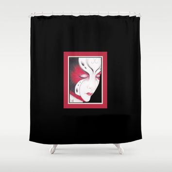 Butterfly Girl #4 Shower Curtain by drawingsbylam