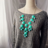 Turquoise Aqua Sparkle Silver Bubble Necklace J. Crew Style Inspired Statement Necklace