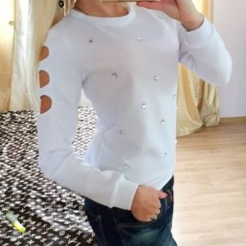 White Cutout Sleeve Diamonds Sweater