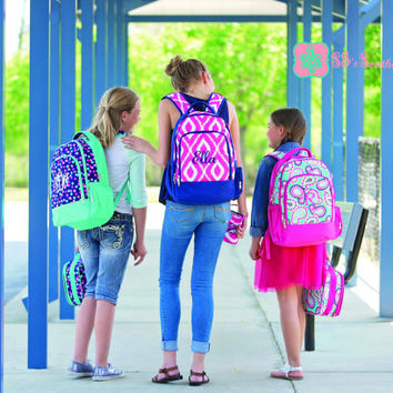 NEW Monogrammed Backpack with Lunchbox , Monogram Bookbag with Lunchbox