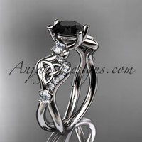 14kt white gold celtic trinity knot engagement ring, wedding ring with a Black Diamond center stone CT768