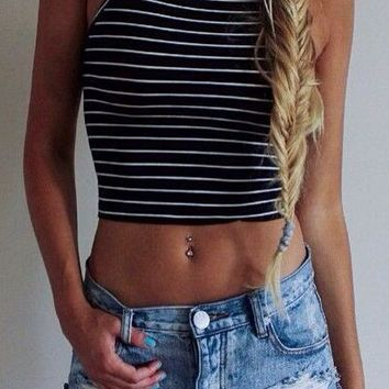 Striped Halter Neck Top
