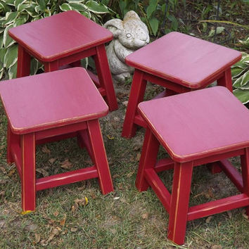 Children's/ chair/ stool/ kids chair/ distressed stool/ colors