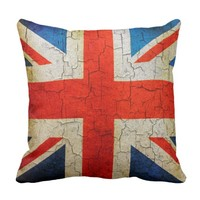 Vintage UK flag on a cracked wall Cushion