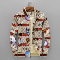 GUCCI autumn and winter new double G printing LOGO wolf zipper casual jacket jacket men's clothing