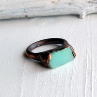 RESERVED Copper Chrysoprase Ring Emerald Pale by MidwestAlchemy