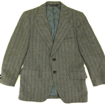 Vintage Blue, Grey and Green Tweed Sport Coat - Herringbone Blazer Jacket Ivy League Menswear - Men's Size 40 Medium Med M